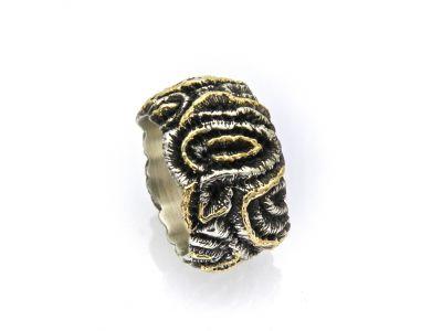 Nr.2645 - 925 Silberring mit Gelbgold Einlagen ergänzt