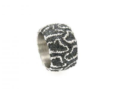 Nr.2647 - 925 Silberring mit Hämatit-Kristallstaub
